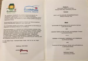 Restaurant Mönchsberg 32 Salzburg EcoWellness Speisekarte vom 14.07.2021